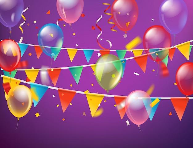 Ballons e bandeiras e cartão de confetes