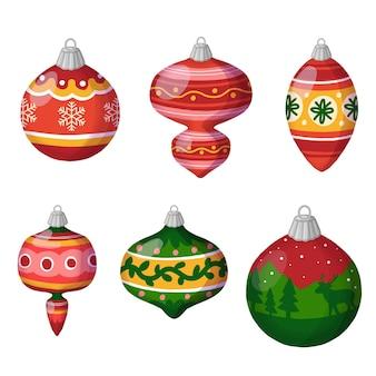 Balls christmas flat clipart, coleções de enfeites de natal