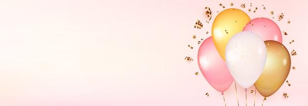 Balões 3d em rosa suave. projeto de comemoração com balões. Vetor Premium