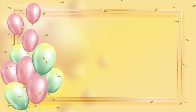 Balões 3d voando com moldura dourada. balões de hélio realistas em tons pastel rosa e verde flutuando