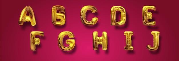 Balões abc em ouro metálico, alfabetos de letras douradas. balões do tipo ouro para texto, carta, ano novo. conjunto realista do vetor 3d. cartas de a a j