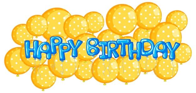 Balões amarelos com a palavra feliz aniversário