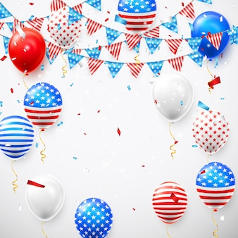 Balões americanos e guirlanda de bandeira com confete