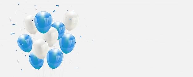 Balões azuis confetes e fitas