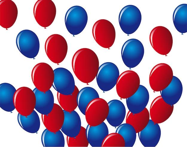 Balões azuis e vermelhos sobre ilustração vetorial de fundo branco
