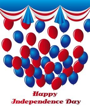 Balões azuis e vermelhos sobre o vetor de fundo branco