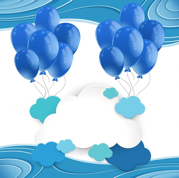 Balões azuis flutuando em céu azul