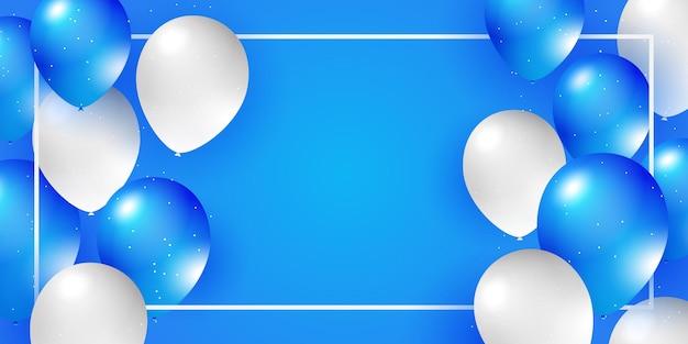 Balões brancos azuis confete conceito de projeto modelo feriado feliz dia fundo comemoração vetor ...