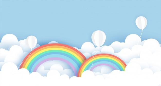 Balões brancos no céu e arco-íris no corte de papel e estilo artesanal para banner de dia dos namorados, banner de venda.