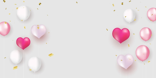 Balões brancos rosa, design de confete