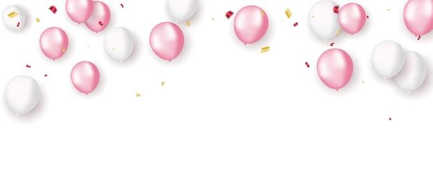 Balões brancos rosa, férias de modelo de design de conceito de confete feliz dia dos namorados, fundo ilustração em vetor de celebração.