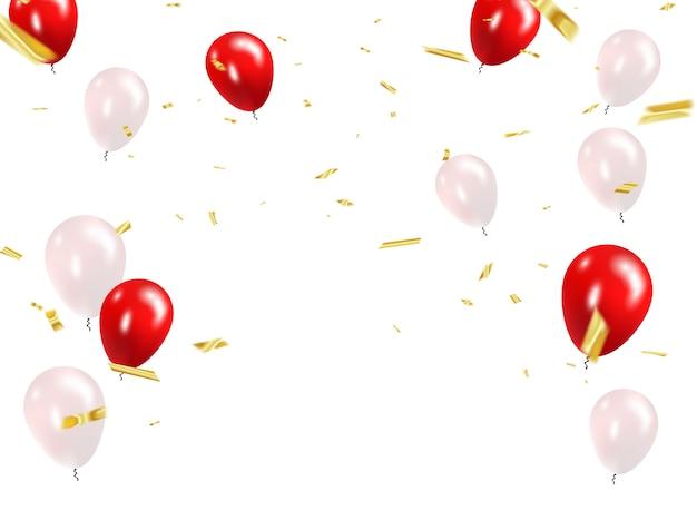 Balões brancos vermelhos, confetes de ouro