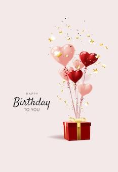 Balões brancos vermelhos, modelo de design de conceito de confete feliz aniversário, plano de fundo celebração