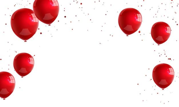 Balões brancos vermelhos, modelo de design de conceito de confete feriado feliz dia dos namorados