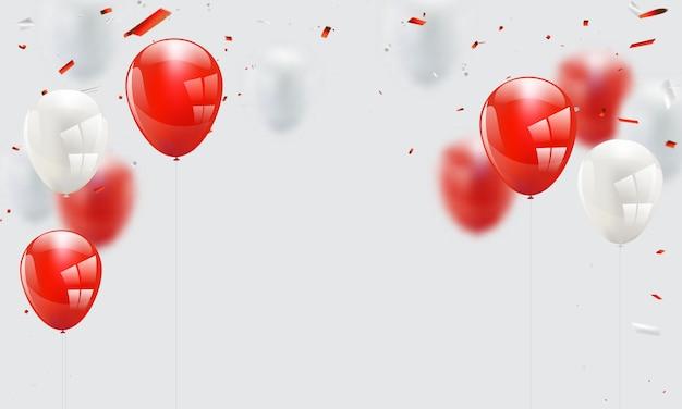 Balões brancos vermelhos, modelo de design de conceito de confete