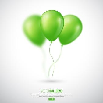 Balões brilhantes 3d realistas com efeito de desfoque. elemento decorativo para design de convite de festa. ilustração vetorial.