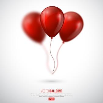 Balões brilhantes 3d realistas com efeito de desfoque.