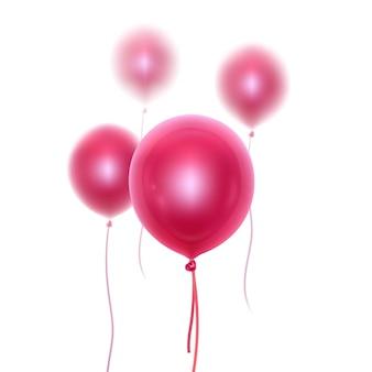 Balões brilhantes 3d realistas com efeito de desfoque