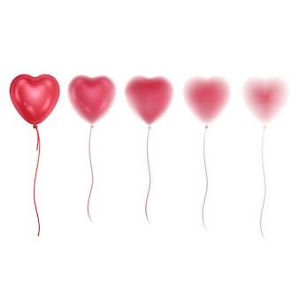 Balões brilhantes 3d realistas de cores rosa com efeito de desfoque balões em forma de coração