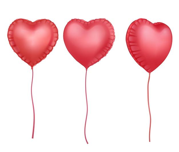 Balões brilhantes 3d realistas em forma de coração