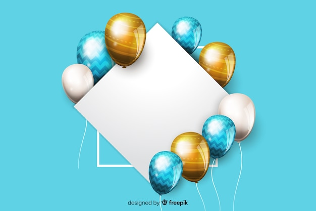 Balões brilhantes com banner em branco no efeito 3d