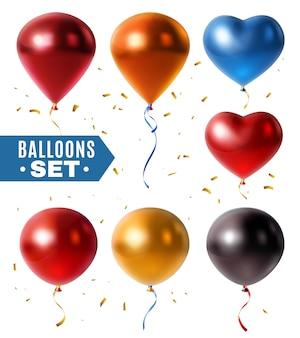 Balões brilhantes e conjunto de confete dourado