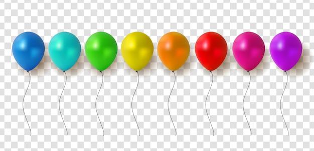 Balões brilhantes em fundo transparente