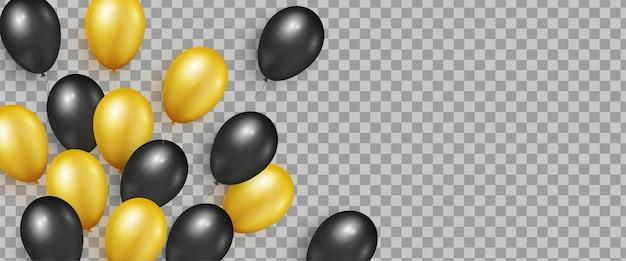 Balões brilhantes realistas pretos e dourados para banners da black friday sale