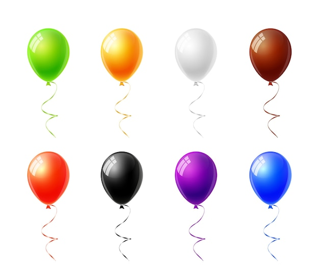 Balões coloridos ajustados isolados no fundo branco