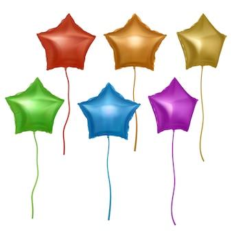 Balões coloridos brilhantes em forma de estrelas