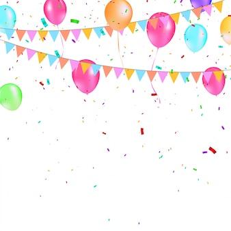 Balões coloridos com bandeiras de festa triangular, confetes e serpentinas de papel.