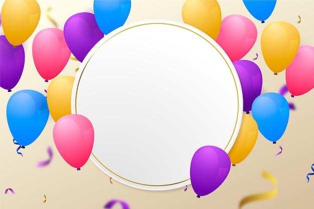 Balões coloridos com banner em branco