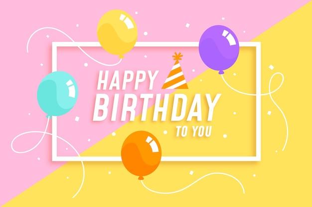 Balões coloridos com fundo de feliz aniversário de seqüência de caracteres