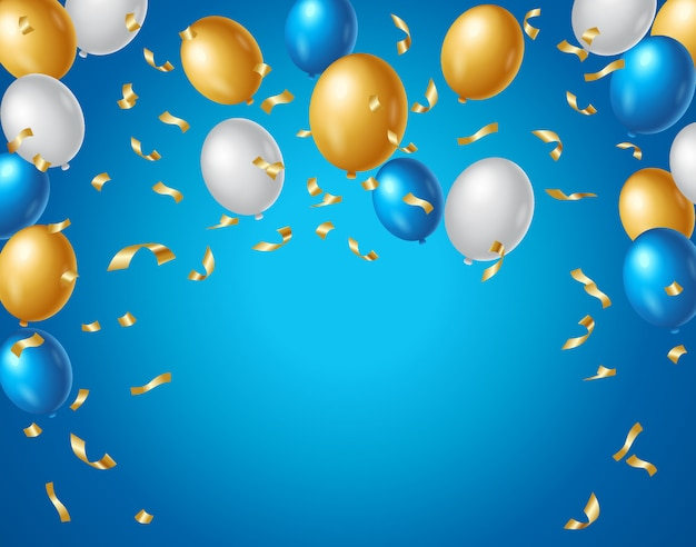 Balões coloridos de azuis, brancos e dourados e confetes dourados sobre um fundo azul. fundo de aniversário colorido