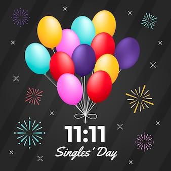 Balões coloridos dia dos solteiros