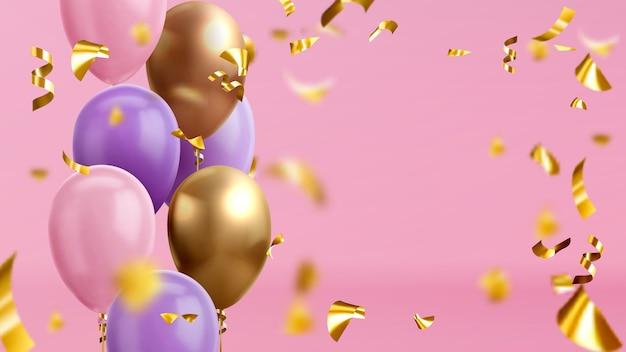 Balões coloridos e confetes dourados. balões realistas brilhantes em fundo rosa para cartão de comemoração de feriado