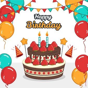 Balões coloridos e guirlandas com bolo feliz aniversário