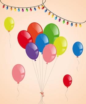Balões coloridos e luzes de festa