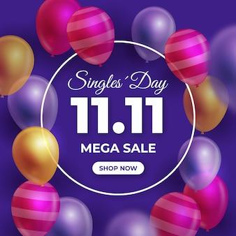 Balões coloridos evento do dia para solteiros