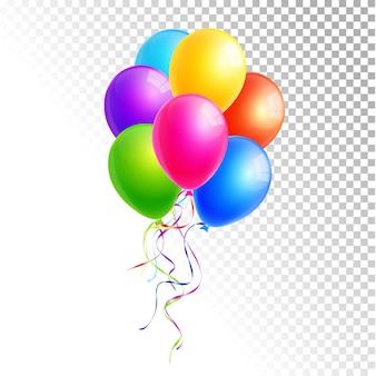 Balões coloridos isolados em um vetor de fundo branco e transparente