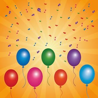 Balões coloridos multicoloridos com confetes voadores
