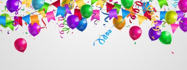 Balões coloridos para festas, modelo de design de conceito de confete feriado feliz dia
