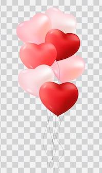 Balões com corações isolados em fundo transparente