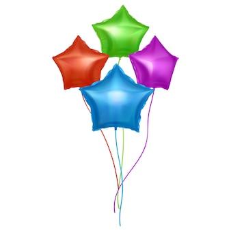 Balões com formato de estrelas balões coloridos brilhantes