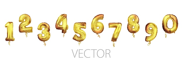 Balões com números dourados de 0 a 9. balões de folha e látex. balões de hélio. festa, aniversário, comemore aniversário e casamento. conjunto de números de balões de folha de ouro.