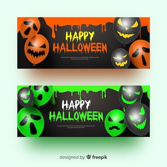 Balões com rostos banners de halloween realistas