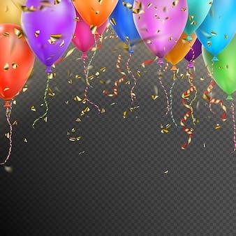 Balões, confetes e fitas de ouro vermelhas.