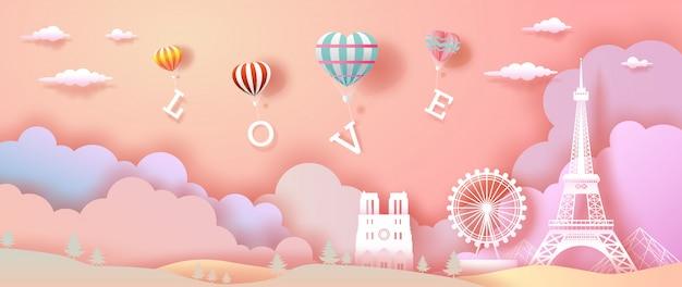Balões de amor e coração com a torre eiffel na frança.