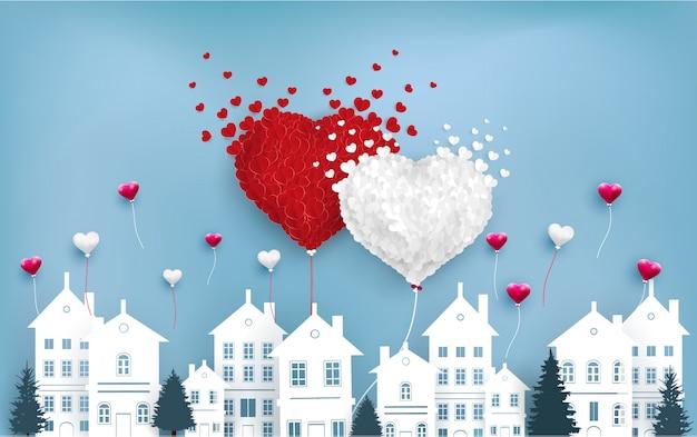 Balões de amor voam sobre a cidade