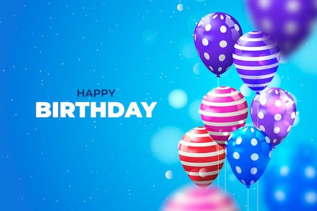 Balões de aniversário colorido realista